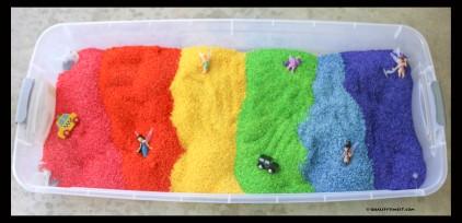 full rainbow sensory bin